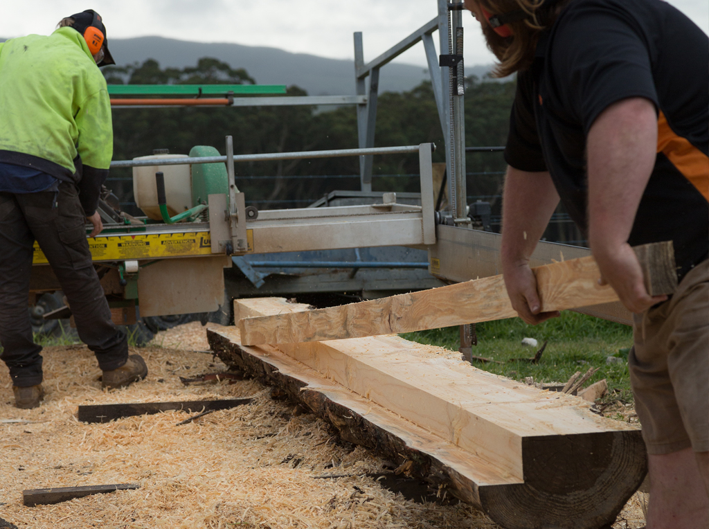 Milling timber posts in South Gippsland