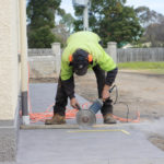 Coloured concrete footpath in Yarram, South Gippsland